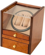 2+4 Walnut Dual / Double Watch Winder Box AC/DC & Battery Operated w/ Drawer