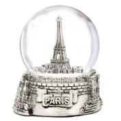 Silver Paris Snow Globe, Eiffel Tower Snow Globe Souvenir, Exclusive 65mm from Paris Snow Globes Collection