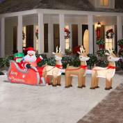 4.9m Colossal Inflatable Lighted Santa in Sleigh with Reindeers