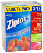 Ziploc Gallon, Quart, Sandwich, and Snack Storage Bags - 347 Total