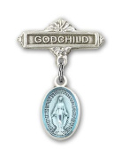 ReligiousObsession's Sterling Silver Baby Badge with Blue Miraculous Charm and Godchild Badge Pin