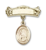 ReligiousObsession's Gold Filled Baby Badge with St. Veronica Charm and Arched Polished Badge Pin