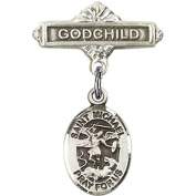 Sterling Silver Baby Badge with St. Michael the Archangel Charm and Godchild Badge Pin 2.5cm X 1.6cm