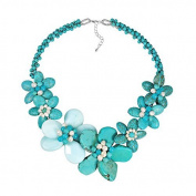 Dreamy Blue Turquoise and Chalcedony Stone Flower Necklace