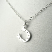 Tiny Horse Shoe Sterling Silver Charm Necklace Lucky Good Luck Jewellery