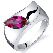 Created Ruby Ring Sterling Silver Marquise Shape 1.25 Carats Sizes 5 to 9