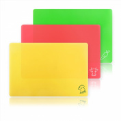 New Star Foodservice 28690 Flexible Cutting Board, 24cm by 36cm , Assorted Colours, Set of 3