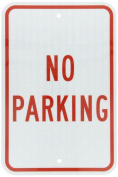 "Accuform Signs FRP110RA Engineer-Grade Reflective Aluminium Parking Sign, Legend ""NO PARKING"", 46cm Length x 30cm Width x 0.2cm Thickness, Red on White"