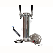 HomeBrewStuff Stainless Steel Double Draught Beer Tower w/ Chrome Faucets + Free Upgrade