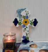 Precious Home Collection, Yellow Flower rounded by Blue Flowers Decoration Cross, 23cm - 0.6cm L x 15cm - 1.9cm W, 80952 By ACK