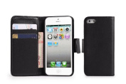32nd Wallet Book PU Leather Cover Case with Screen Protector, Cloth and Stylus Pen for Apple iPhone 5/5S - Black