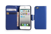 32nd Wallet Book PU Leather Cover Case with Screen Protector, Cloth and Stylus Pen for Apple iPhone 5/5S - Deep Blue