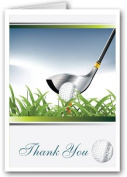 Golfing Theme Thank You Note Card - 10 Boxed Cards & Envelopes