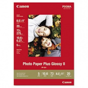 Photo Paper Plus Glossy II, 8-1/2 x 11, 10.6 mil, White, 20 Sheets/Pack