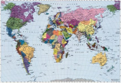 Brewster 4-050 World Map 4 Panel Mural with Paste, 2.4m by 1.8m