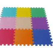 9 PC Interlocking Kids Soft EVA Foam Activity Play Mat Set Floor Tiles