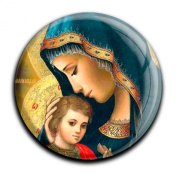 """Magnet in a round shape """"Maria with child"""""""