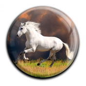 """Magnet in a round shape """"White horse"""""""