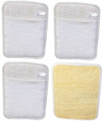LUXEHOME Rectangular Loofah Sponge Pad, 4 Pack, 20cm *14cm , Natural Scrubber, Perfect for Bath