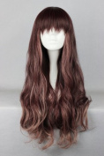 Brown Wig - 75 cm Long - With Plait - For Lolita Cosplay / Carnival / Halloween