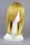 45cm Light Golden Colour Medium Length Cosplay Wigs For Fashion Lady Daily + Bleach/Fate/Stay night Cosplay And for Halloween Day