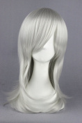 55cm Silver White Colour Medium Length Cosplay Wigs For Fashion Lady + Cartoon Cosplay + Halloween Day