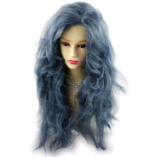 Romantic SEXY Wild Untamed Long Curly Wig Grey Blue Ladies Wig by Wiwigs ®