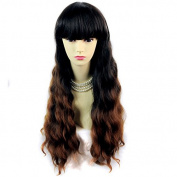 Wonderful Curly Black Brown & Red Long Lady Wig Dip-Dye Ombre hair by Wiwigs ®