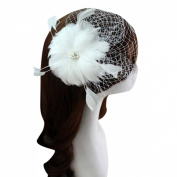 Clearbridal Women's Party Cocktail Bridal Wedding Feather Fascinator Mini Hat Headwear 18090