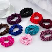 cuhair(tm)Women Girl 10pcs (mixed Colour) cloth Design Scrunchie alloy Punk Elastic Hair Tie Hair Rope Rubber Ponytail Holder Accessories