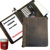 BARON of MALTZAHN Writing Case - Order wallet LESSING for right-handed of leather - incl. free leather care