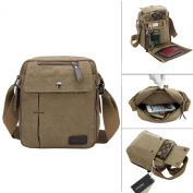 LY® Men Vintage Casual Multi-Pocket Canvas Cross Body Bag Rucksack Small Satchel Shoulder Messenger Zip Bag Gift