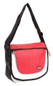 HB-S-01 Black Red Messenger Unisex School Shoulder Bag with Organiser Section