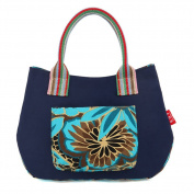 Fortuning's JDS® Novelty fashion contrast colour floral printed canvas tote handbag