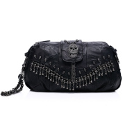 ONEWORLD New Fashion True Sheepskin Skull Metal Tassel Handbag Womens Cross-Body Bag Black
