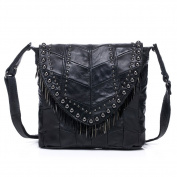 ONEWORLD New Fashion True Sheepskin Studded Sequinned Handbag Women Cross-Body Bag Black