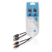 Konig Stereo audio extension cable 2x RCA male - 2x female 5.00 m grey [KNA24205E50]