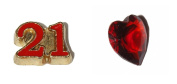21st Birthday set of 2 Floating charms - 21 red and gold and red heart