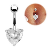 BODYA 316L Surgical Steel 14G 1.1cm Navel Ring Belly button barbell clear love Heart cz Rhinestone jewelled Curved Bars Body Piercing jewellery silver