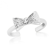 Toe Ring - With Silver tone Bow and Diamante - Adjustable 15mm