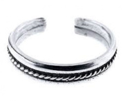 925 Sterling Silver Toe Ring. Plain Rope Groove Adjustable Band