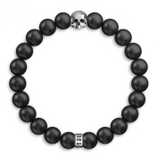 Matte Black Onyx & 925 Sterling Silver Skull Beaded Bracelet - Semi-Precious 8mm Beads - Stretch Bracelet for Men & Women, Unique Design & Made in United Kingdom