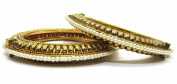 Shingar Jewellery Ksvk Jewels Women's Antique Gold Kundan Polki Look Screw Open Kada Bangles Set