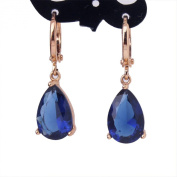 GULICX 18k Gold Plated Blue Teardrop Crystal Cubic Zirconia Leverback Pierced Earrings