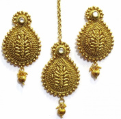 Shingar Jewellery Ksvk Jewels Women's Gold Polki Antique Look Maangtikka Earrings Set