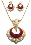 Shingar Jewellery Ksvk Jewels Women's Cubic Zirconia Gold Plated Pendant Set Red