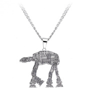 Licenced Stainless Steel Curb Chain Star Wars AT-AT Walker Pendant Necklace 60cm