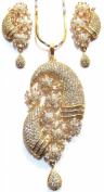 Shingar Jewellery Ksvk Jewels Women's Diamond Look Pendant Set Gold