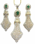 Shingar Jewellery Ksvk Jewels Women's Fine Quality American Diamonds Onyx Panna Emerald Green Pendant Set