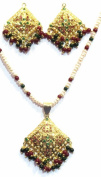 Shingar Jewellery Ksvk Jewels Women's Jadaau Ruby Emerald Pendant Set Gold